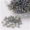 6/0 Transparent Rainbow Colours Round Glass Seed Beads, DarkGray, Size: about 4mm in diameter, hole:1.5mm, about 495pcs/50g