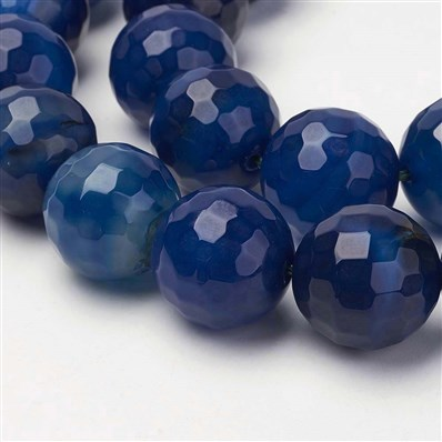 Natural & Dyed Agate Beads Strands, Faceted, Round, Blue, 20mm, Hole:
