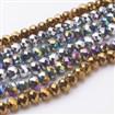 Electroplate Glass Beads Strands, Faceted, Abacus, Mixed Color, 6mm in diameter, 4mm thick, hole: 1mm