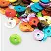 Plastic Loose Sequins, Color Paillettes Sequins, Center Hole, Mixed Color, 6~7mm in diameter, hole: 1mm