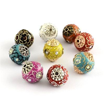 Indonesia Beads, Round Handmade Grade A Rhinestone Indonesia Beads, wi