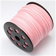 Faux Suede Cord, Pink, 3.0mm wide, 1.4mm thick, approx 90 meters / roll(K-LW-R007-3.0mm-1040)