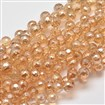 Defective Closeout Sale. Faceted Round Full Rainbow Plated Electroplate Glass Beads Strands, SandyBrown, 8mm in diameter, hole: 1mm