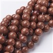 Gemstone Beads Strands, Goldsand Stone, Round, Brown, 10mm