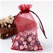 Organza Bags, with Ribbons, DarkRed, 15x10cm