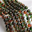 Two Tone Spray Painted Transparent Glass Bead Strands, Round, Green, 8mm, Hole: 1mm; about 104pcs/strand, 31.5