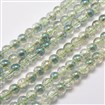 Electroplate Crackle Glass Round Bead Strands, Half Rainbow Plated, SeaGreen, 8mm in diameter, hole: 1mm