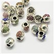 Alloy Rhinestone European Beads, Drum Large Hole Beads, Mixed Color, 10mm long, 11mm in diameter, hole: 4.5mm