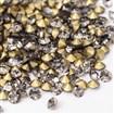 Back Plated Grade A Diamond Glass Pointed Rhinestone, Black Diamond, 6~6.2mm in diameter