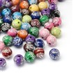Round Plating Acrylic Beads, Silver Metal Enlaced, Mixed Color, 11mm in diameter, hole: 2mm