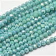 Faceted Round Full Rainbow Plated Electroplate Glass Beads Strands, Turquoise, 4mm in diameter, hole: 1mm(EGLA-J130-FR03)