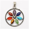 Vintage Chakra Jewelry Zinc Alloy Bezel Gemstone Pendants, Circle with Flower of Life, 40x46x4mm(G-M039-03)