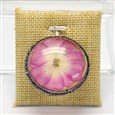 Flat Round Glass Pendants, with Platinum Plated Brass Rhinestone Findings and Dried Flower inside, Pink, 42x39x16.5mm, Hole: 1.8mm(GLAA-I023-03)