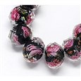 Handmade Lampwork Beads Strands, with Inner Flower, Faceted Abacus, 10x7mm(LAMP-S001-10MM-03)