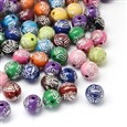 Round Plating Acrylic Beads, Silver Metal Enlaced, Mixed Color, 11mm in diameter, hole: 2mm(SACR-R886-03)