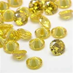 Cubic Zirconia Cabochons, Grade A, Faceted, Diamond, LightKhaki, 8mm in diameter, 4.6mm thick