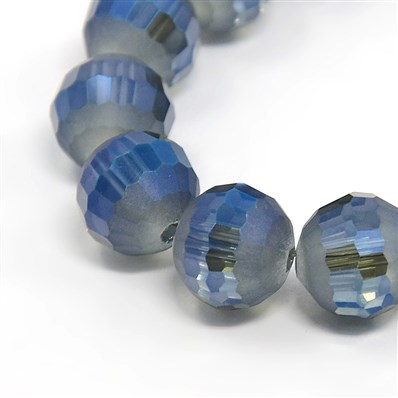 Faceted Rainbow Color Plated Frosted Glass Round Beads Strands, Marine