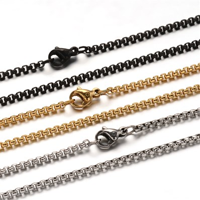 304 Stainless Steel Box Chain  Necklaces, with Lobster Claw Clasps, Mi