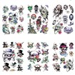 Skull Cool Body Art Removable Fake Temporary Tattoos Paper Stickers, Mixed Color, 10~75x11~66mm
