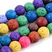Natural Lava Beads Strands, Dyed, Round, Mixed Color, 8~8.5mm, Hole: 1mm; about 50beads/strand, 15.9