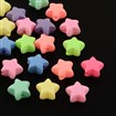 Star Spray Painted Fluorescent Acrylic Beads, Mixed Color, 11x12x6mm, Hole: 2mm