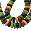 Synthetic Howlite Bead, Dyed, Flat Round, Mixed Color, 10mm in diameter, 6mm thick, hole: 1mm