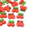 Cherry Resin Cabochons, Imitation Food, Red, 19mm long, 21mm wide, 5mm thick(CRES-R183-13)
