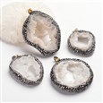 Nuggets Brass Polymer Clay Rhinestone Natural Druzy Crystal Big Pendants, Golden, 57~77mm, Hole: 5x8mm(G-F218-13)