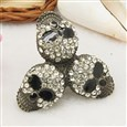 Alloy Rings, with Rhinestones, Adjustable, Black, 18mm in Diameter, 41mm long, 40mm wide, 18mm inner diameter(RJEW-Q113)