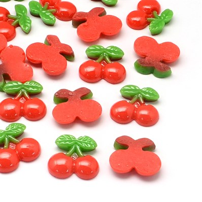 Cherry Resin Cabochons, Imitation Food, Red, 19mm long, 21mm wide, 5mm