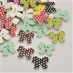 Polka Dot Pattern Bowknot Dyed 2-Hole Printed Wooden Buttons, Mixed Color, 20mm wide, 16mm long, 2.5mm thick, hole: 1mm