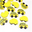Resin Cabochons, School Bus, Yellow, 22.5mm long, 30.5mm wide, 5mm thick.