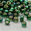 FGB&reg Seed Beads, 12/0 Round Glass Seed Beads, Grade A, Silver Lined Square Hole, Transparent Colours Rainbow, DarkGreen, 2x1mm, Hole: 0.3x0.3mm