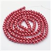 Glass Beads Strands, Pearlized, Round, Dyed, FireBrick, 6mm in diameter, hole: 1mm