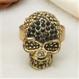 Alloy Rings, with Rhinestones, Adjustable, Golden, 24mm long, 16mm wide, 18mm inner diameter(RJEW-Q093)