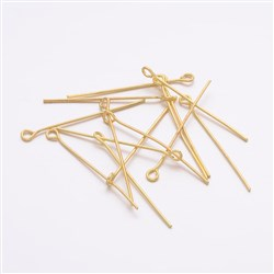 Golden Color Iron Eyepins, 0. 7mm thick, 3. 0cm long, hole: 2mm