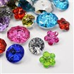Acrylic Rhinestone Buttons, Faceted, Mixed Shapes, Mixed Color, 12~18mm diameter, 6.5~10mm thick, hole: 1~1.5mm