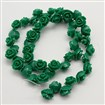 Resin Beads Strands, Dyed, Flower, DarkGreen, 11x7mm