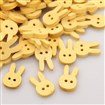 2-Hole Garment Accessories Lovely Rabbit Head Wooden Sewing Buttons, Wheat, 12.5mm wide, 19.5mm long, 3mm thick, hole: 1.5mm
