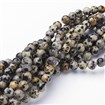 Natural Gemstone Beads Strand, Round Dalmatian Jasper Beads, PaleGoldenrod, 6mm