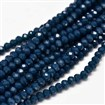 Faceted Abacus Glass Beads Strands, PrussianBlue, 4x3mm, Hole: 1mm; about 149pcs/strand, 18.9