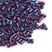 TOHO&reg Japan Import Seed Beads, Glass Bugle Beads, Iris Round, Glazing Style, Higher Metallic Iris Violet, 2x1.7~1.8mm, Hole: 1mm; about 600pcs/10g