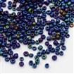 12/0 Glass Seed Beads, Iris Round, PrussianBlue, 2mm in diameter, hole:1mm