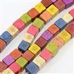 Natural Howlite Beads Strands, Dyed, Cube, Mixed Color, 7mm wide, 7mm long, 7mm thick, hole: 1mm