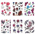Rose Flower & Butterfly Cool Body Art Removable Fake Temporary Tattoos Paper Stickers, Mixed Color, 15~147x10~56mm(AJEW-K003-104)