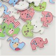 Mixed Color 2-Hole Dyed Printed Elephant Wooden Buttons, 20x29x4mm, Hole: 2mm(K-X-BUTT-N001-04)