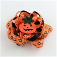 Halloween Grosgrain Flower Alligator Hair Clips, with Iron Clips and Pumpkin, Platinum, DarkOrange, clip: about 57x8mm,  flower: 107x107mm(PHAR-R165-04)
