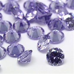Cubic Zirconia Cabochons, Grade A, Faceted, Diamond, Lilac, 8mm in diameter, 4.6mm thick