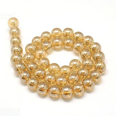 Electroplate Glass Beads Strands, Full Pearl Luster Plated, Round, Ora