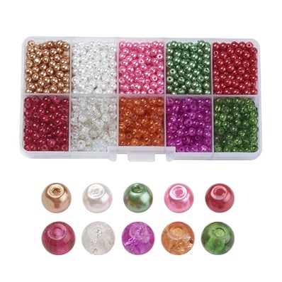 Mixed Baking Painted Crackle Glass & Glass Pearl Bead Sets, Round, Mix